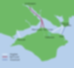 A map of the ferry routes to the Isle of Wight.