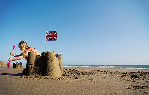 Sand castle building on the Isle of Wight