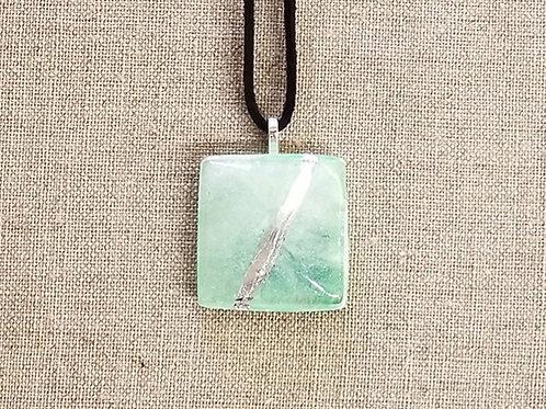 Green Glass Square Pendant