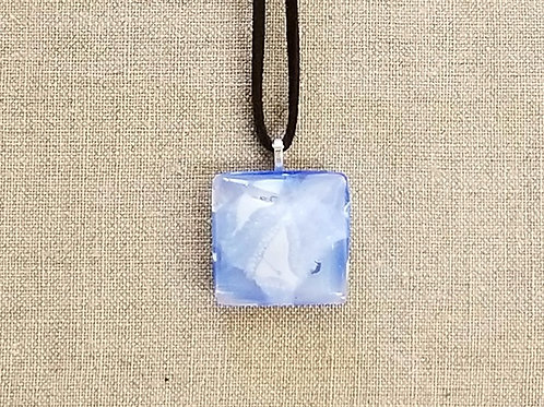 Cerulean Blue & White Glass Square Pendant