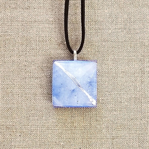 Cerulean Blue Glass Square Pendant