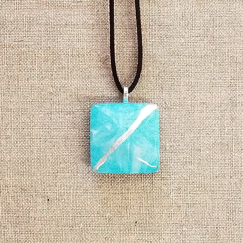 Teal Blue Glass Square Pendant