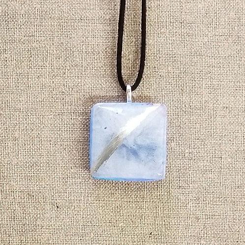 Cerulean Blue Glass Square Pendant