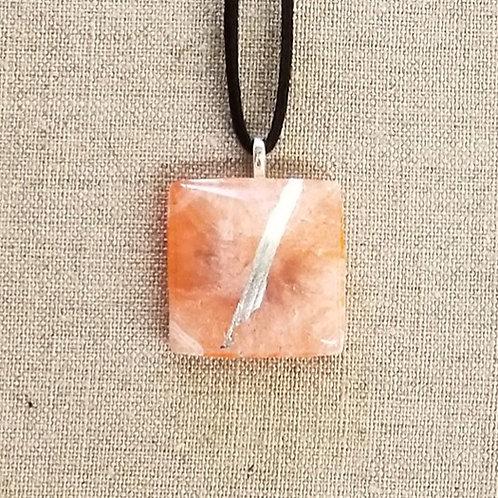 Orange Glass Square Pendant