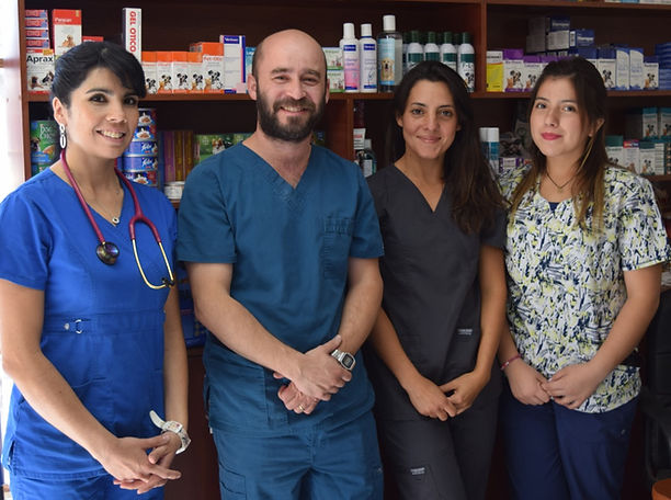 PuntoVet, veterinarios Paulina Urbina, Maximiano Lemaître y Marcia Gálvez, recepcionista Valentina Mandiola. San Felpe