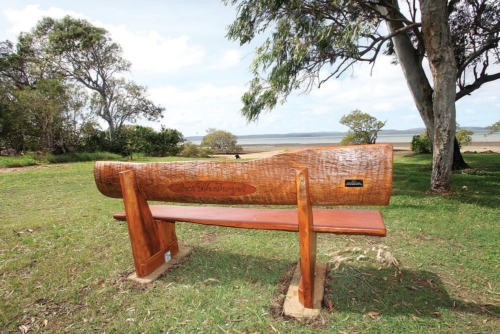 The Anzac seat in place in the park at the end of Morwong Street.