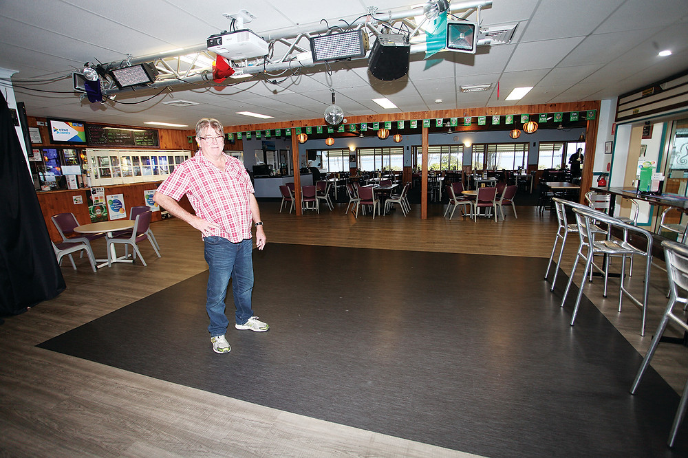 Club Macleay chairman Rod Callaghan and the new floor.