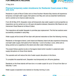 Planned temporary water shutdowns for Redlands Coast areas in May and June