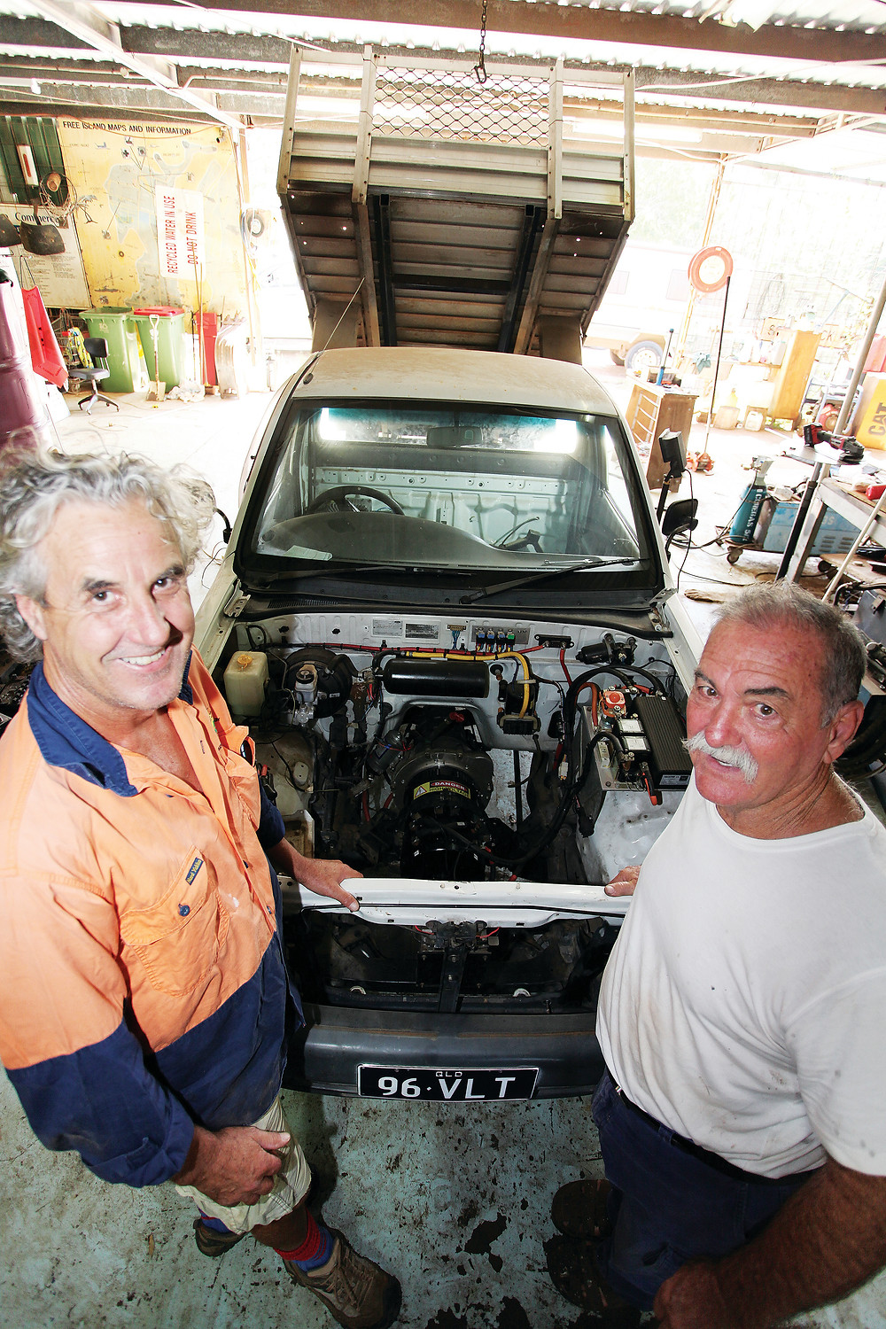 Neville Ryan and Paul Jones and the Ford electric ute.