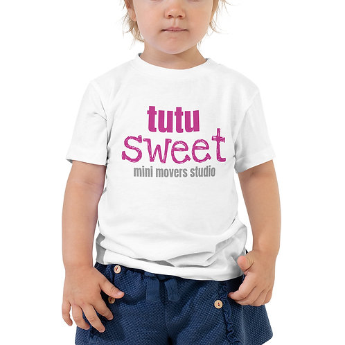 """Tutu Sweet"" Toddler White Tee"