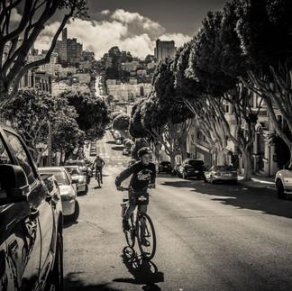 San Francisco boy on a bike