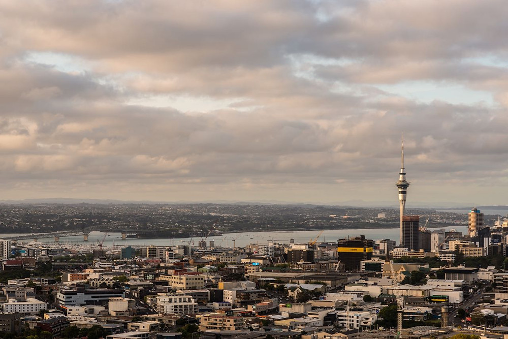 Sunset at Mt Eden summit looking towards downtown Auckland