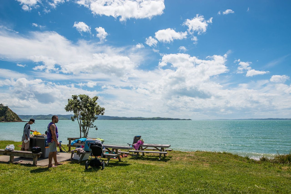 Typical New Zealand weekend, barbecue at the beach