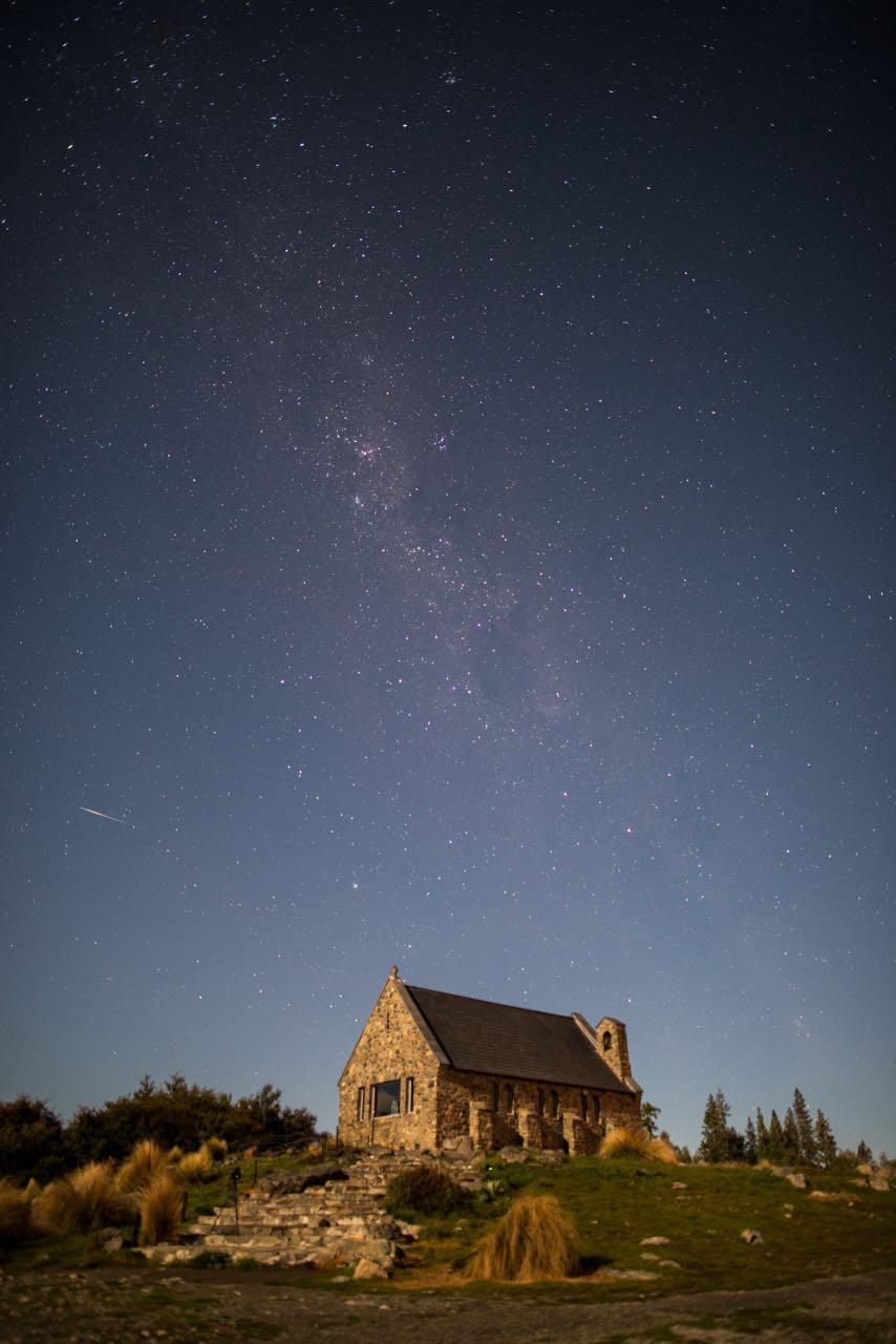 Astral photography at Lake Tekapo, Church of the good shepherd