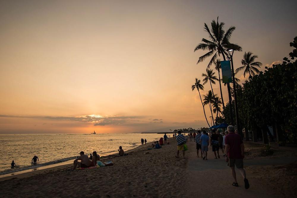 Sunset at Lanikai beach in Hawaii