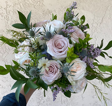 Beautiful Quicksand and White O'hara Rose hand-tied Bouquet