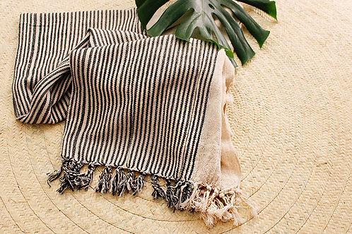 Manta de algodão com listras pretas