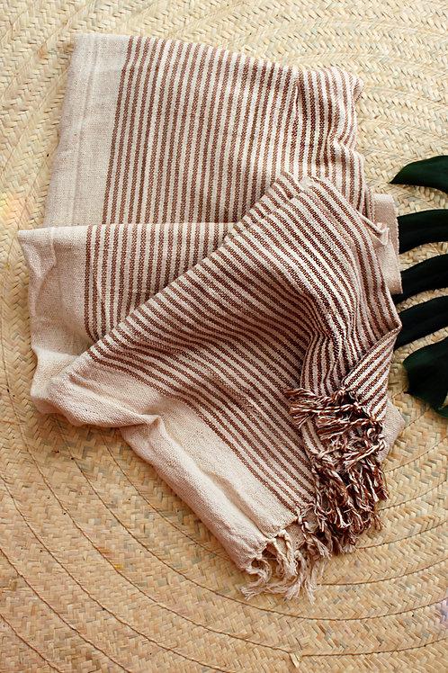 Manta de algodão com listras marrom