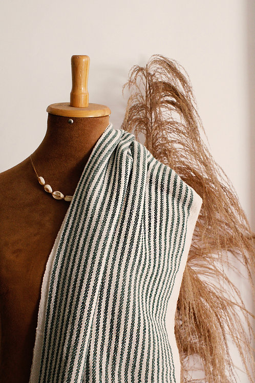 Manta de algodão com listras verdes