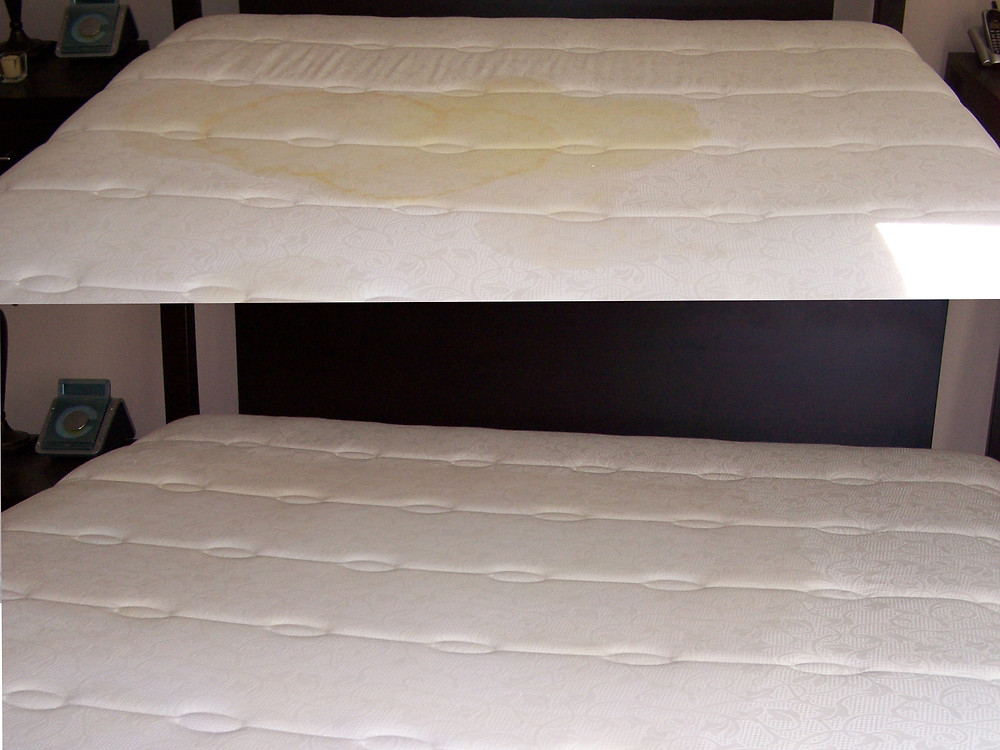 Urine stained mattress before cleaning with cleaned mattress beneath