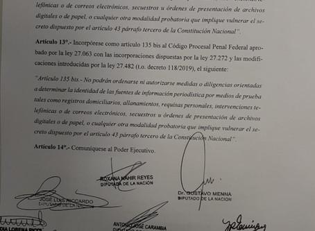 Menna presentó un proyecto de ley para garantizar el derecho de periodistas a no revelar sus fuentes