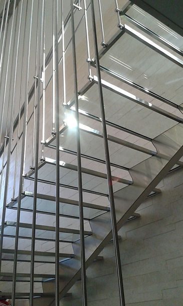 stairs made of stainless steel and glass