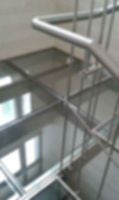 satin stainless steel and glass floor