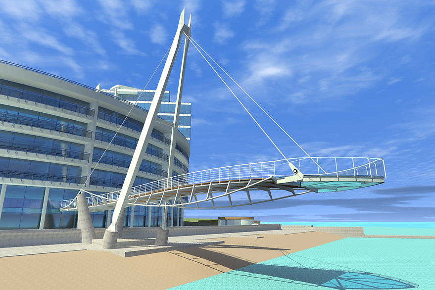 a cable-stayed bridge over the beach