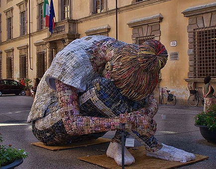 Public sculpture made out of paper and m