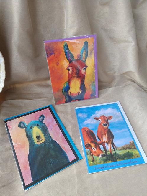 Brass Animal card set of 3