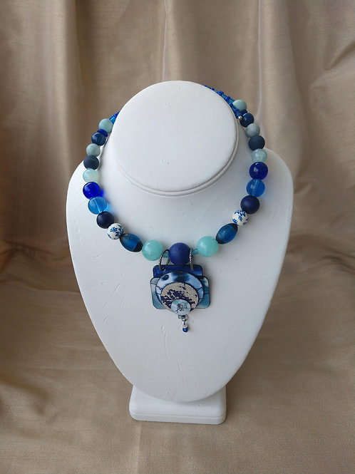 Bellows Small Blue & White  Necklace