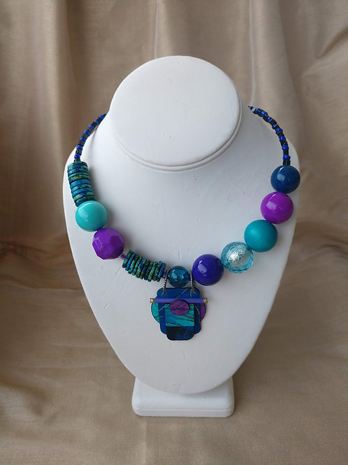 Bellows Large Aqua & Purple Necklace