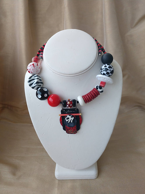 Bellows Large Red, Black & White  Necklace