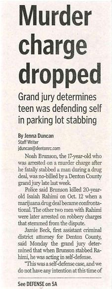 Murder charge dropped noah brunson denton record chronicle