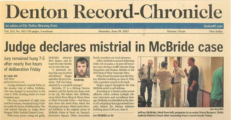 Judge declares mistrial in McBride case denton record chronicle Jeffrey Mcbride