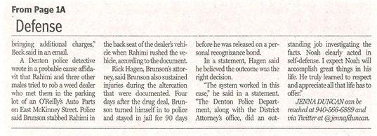 Defense denton record chronicle charges dropped noah brunson