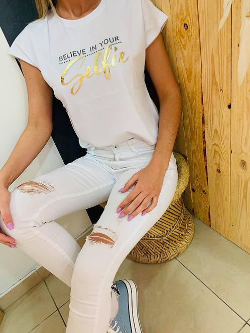 "T-shirt ""Selfie"" - blanc"