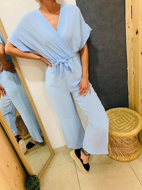 """Combi pantalon """" Safia"""" - bleu ciel"""