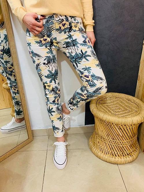 """Jeans """"Flower"""" - vert"""