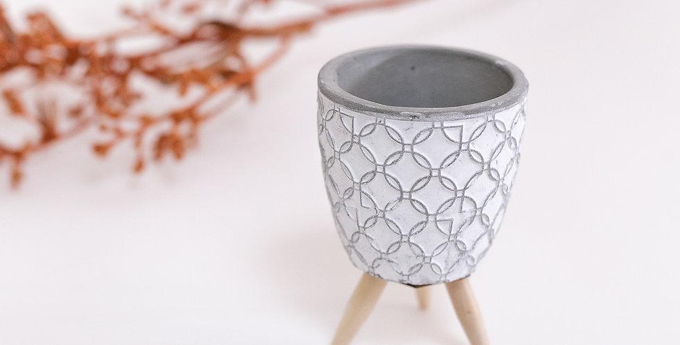 Vaso concreto Coen com pé madeira