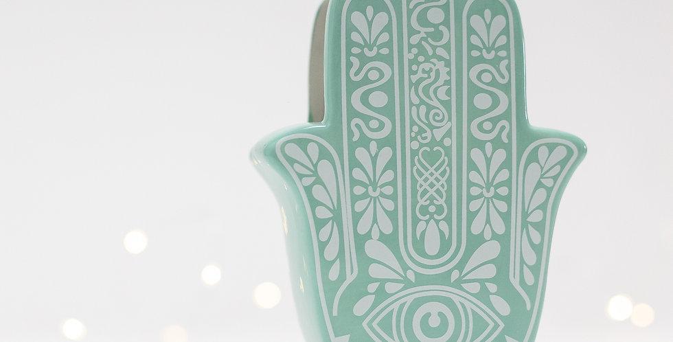 Cachepot cerâmica Mão Hansa Tiffany