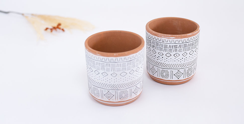 Cachepot cubo Cerâmica Étnico
