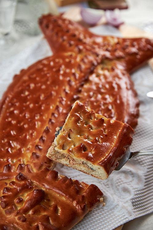 Рыбный пирог из горбуши на дрожжевом тесте