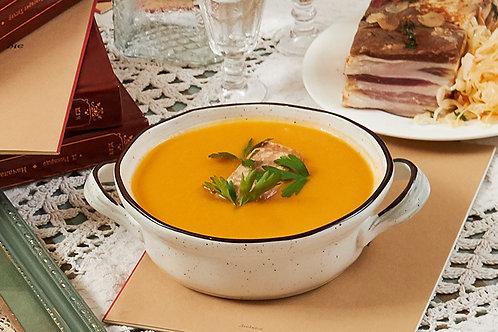 Изысканный крем-суп из тыквы с копченым лососем