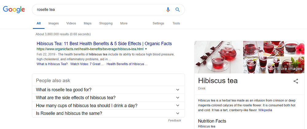 Google search result page mistaken Hibiscus tea and Roselle tea