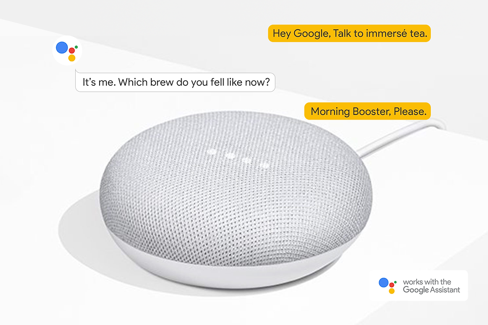 Google Home Mini on table, command dialog floating on top of it