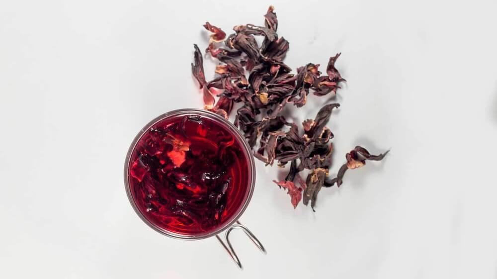 Roselle Tea in a cup from top view
