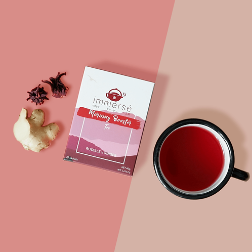 Morning Booster tea box (Roselle and Ginger tea), flat lay
