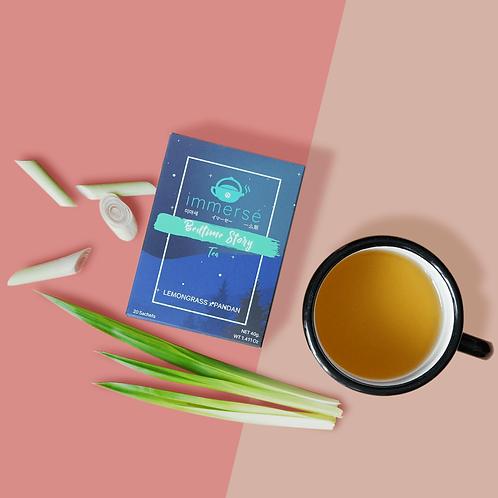 Bedtime Story tea box (Lemongrass and Pandan tea), flat lay