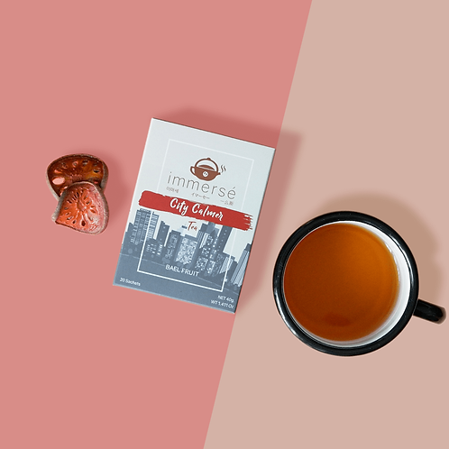 City Calmer tea box (Bael Fruit tea), flat lay